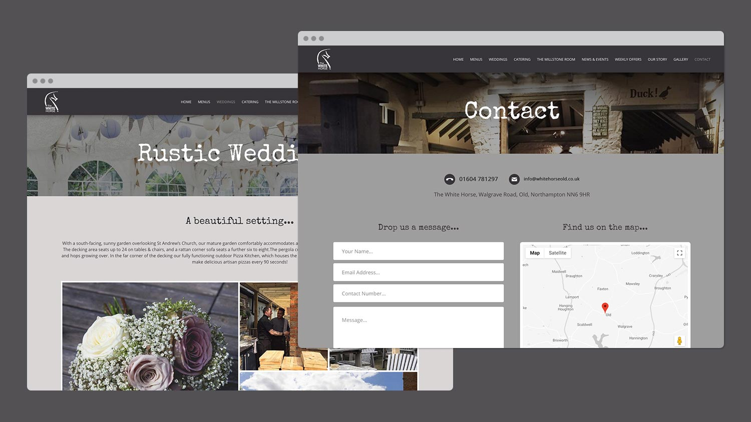 The White Horse - Weddings and Contact Pages