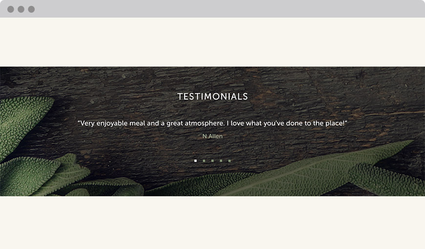 Testimonials screen shot