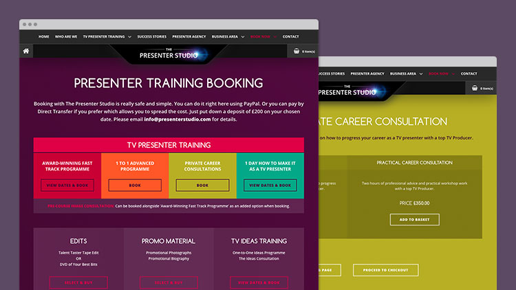 Presenter Training Booking Sections